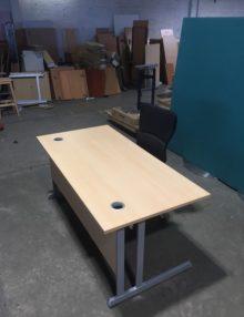 Used Light Beech 1600mm N3+ Straight Office Desk