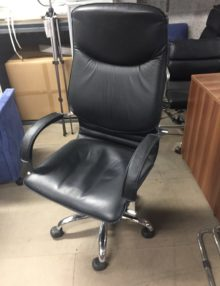 Used Black Leather High Back Office Chair
