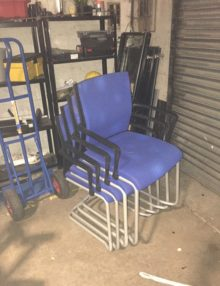 Used Steelcase Blue Meeting Chairs x 4 Set