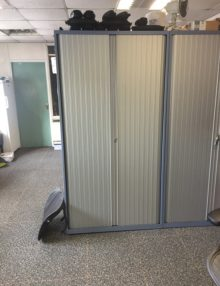 Used Blue Bisley 2m Tambour Cabinet