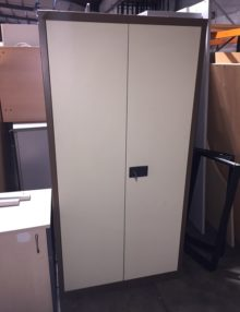 Used Coffee and Cream Metal Cabinet