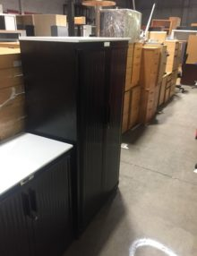 Used Steelcase Black Metal 15200mm Tambour Cabinet