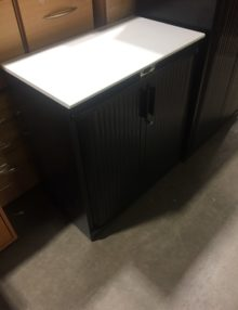 Used Steelcase Black Metal 870mm Tambour Cabinet