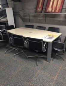 Used 2100mm Birch Slab End Boardroom Table