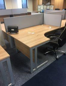 Used Senator Strata Oak 1600mm Radial Office Desk