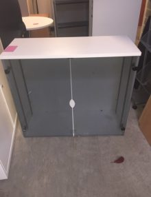Used Glass Office Storage Cupboard -1m