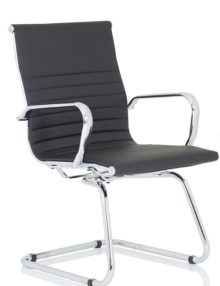 Nola Ribbed Leather Cantilever Executive Office Chair