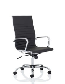 Nola Ribbed Leather Executive Office Chair - High Back