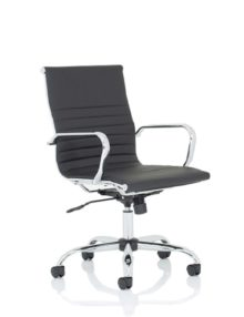 Nola Ribbed Leather Executive Office Chair - Medium Back