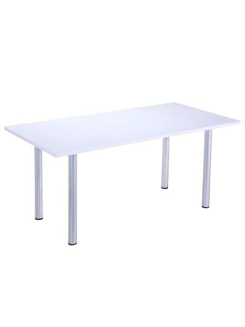 White 1600mm Office Table - Silver Legs