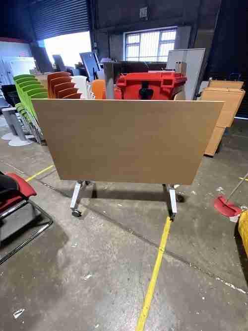 Used 1400mm Beech Flip Top Office Table