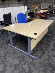 Used Maple Senator Righthand Radial Office Desk - 1600mm