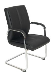 Black Faux Leather Cantilever Boardroom Chairs