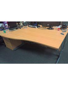 Used Oak 1600mm Wave Office Desk