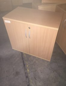Used Beech Desk High Storage Cupboards