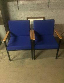 Used Blue Reception Armchairs Set