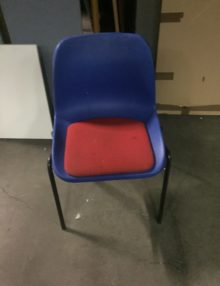 Used Blue Stackable Canteen Chairs
