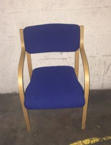 Used Blue Wooden Armchairs