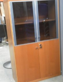 Used Cherry Glass Doored Cabinet