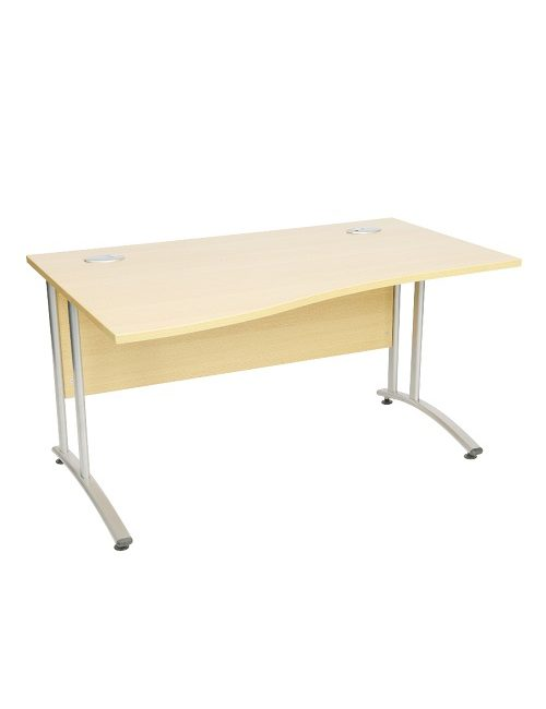 Used Light Oak 1600mm Wave Office Desks