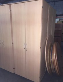 Used Tall Light Beech 800mm Wide Storage Cupboard